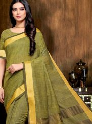 Linen Print Classic Designer Saree in Green