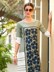 Linen Print Multi Colour Party Wear Kurti