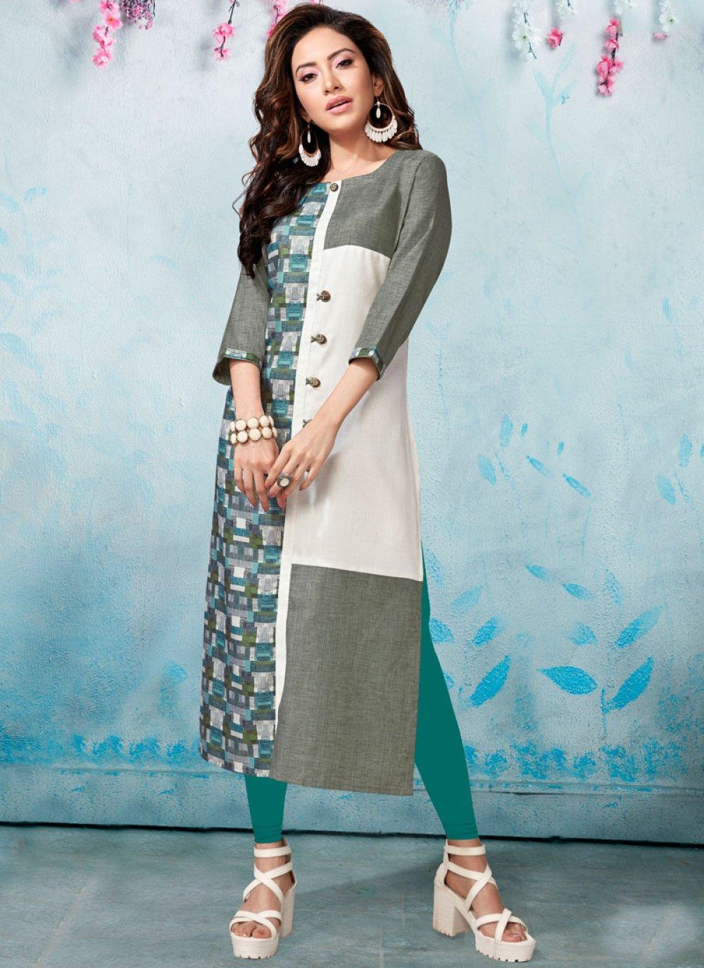 Linen Print Multi Colour Party Wear Kurti