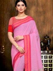 Linen Print Pink Classic Saree