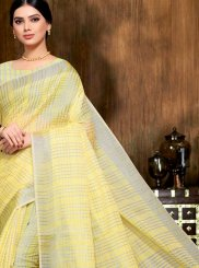 Linen Print Yellow Saree