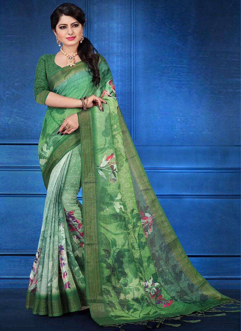 Linen Printed Multi Colour Trendy Saree
