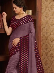 Linen Printed Purple Traditional Designer Saree
