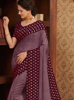 Linen Printed Purple Traditional Designer Saree