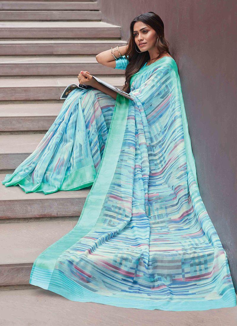Linen Printed Saree in Multi Colour