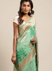 Linen Sea Green Traditional Designer Saree