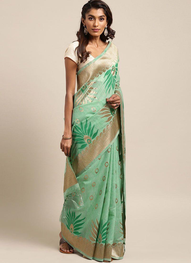 Linen Sea Green Traditional Designer Saree