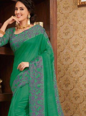Linen Traditional Designer Saree in Green
