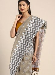 Linen Weaving Beige Traditional Designer Saree