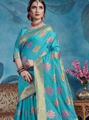 Linen Weaving Casual Saree in Blue