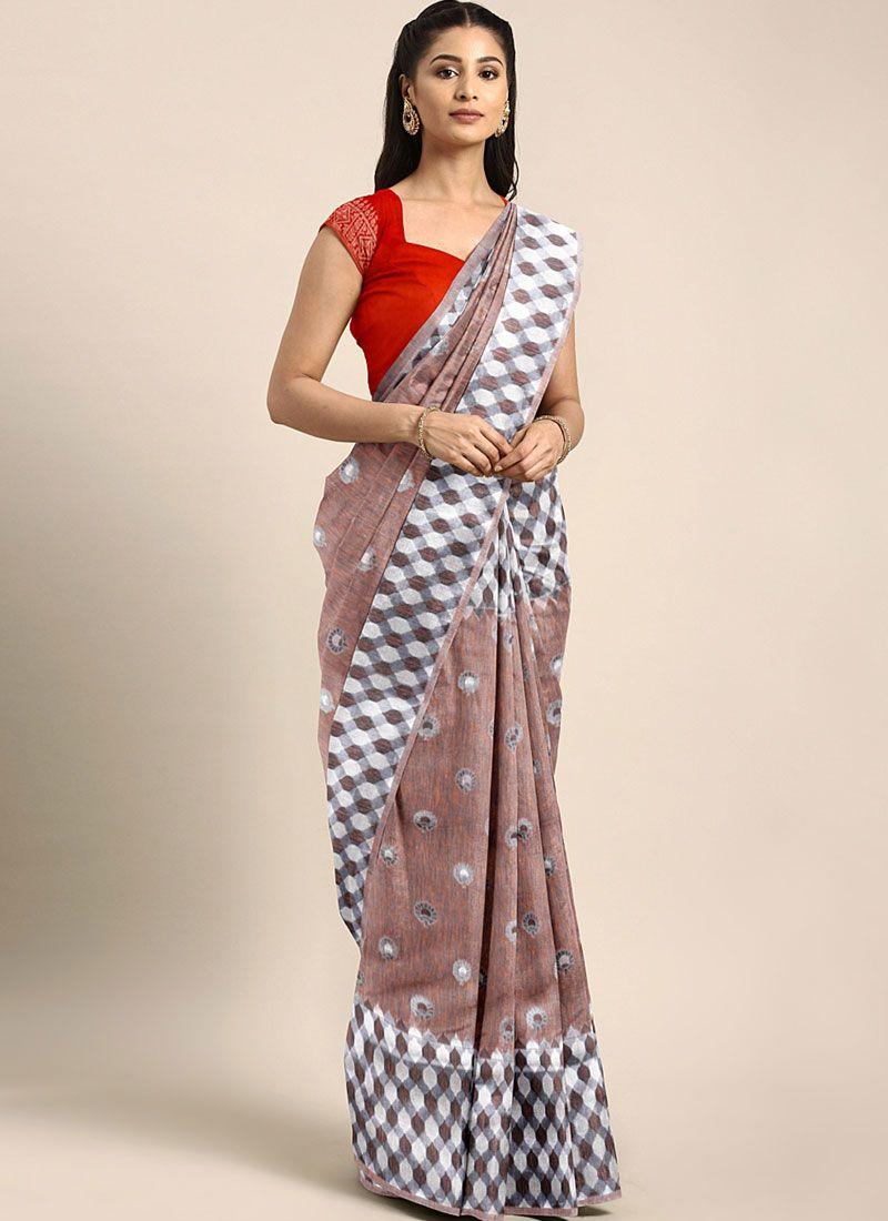 Linen Weaving Multi Colour Traditional Designer Saree
