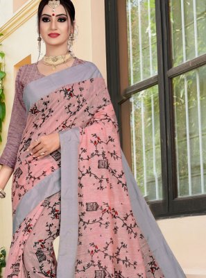 Linen Weaving Printed Saree in Multi Colour