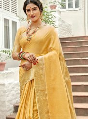Linen Weaving Trendy Saree in Yellow