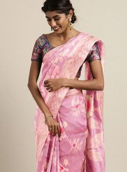 Linen Woven Pink Traditional Saree