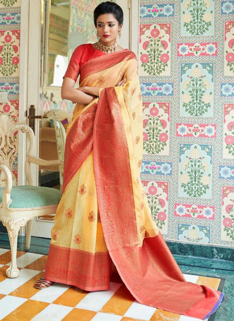 Linen Woven Traditional Saree in Yellow