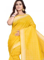 Linen Yellow Print Casual Saree