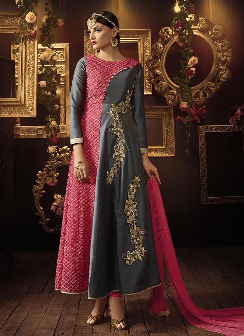 Lustre Resham Work Silk Anarkali Salwar Kameez