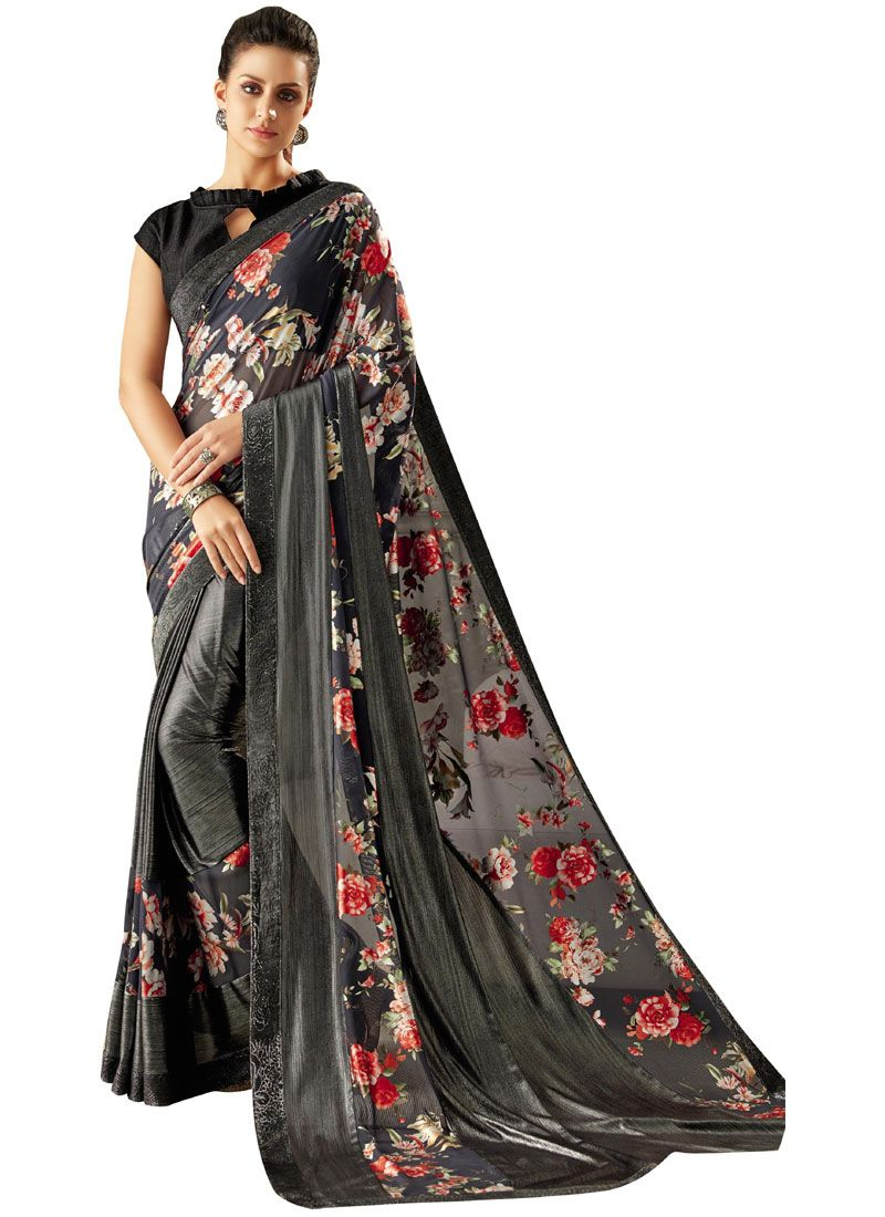 Lycra Black Print Trendy Saree