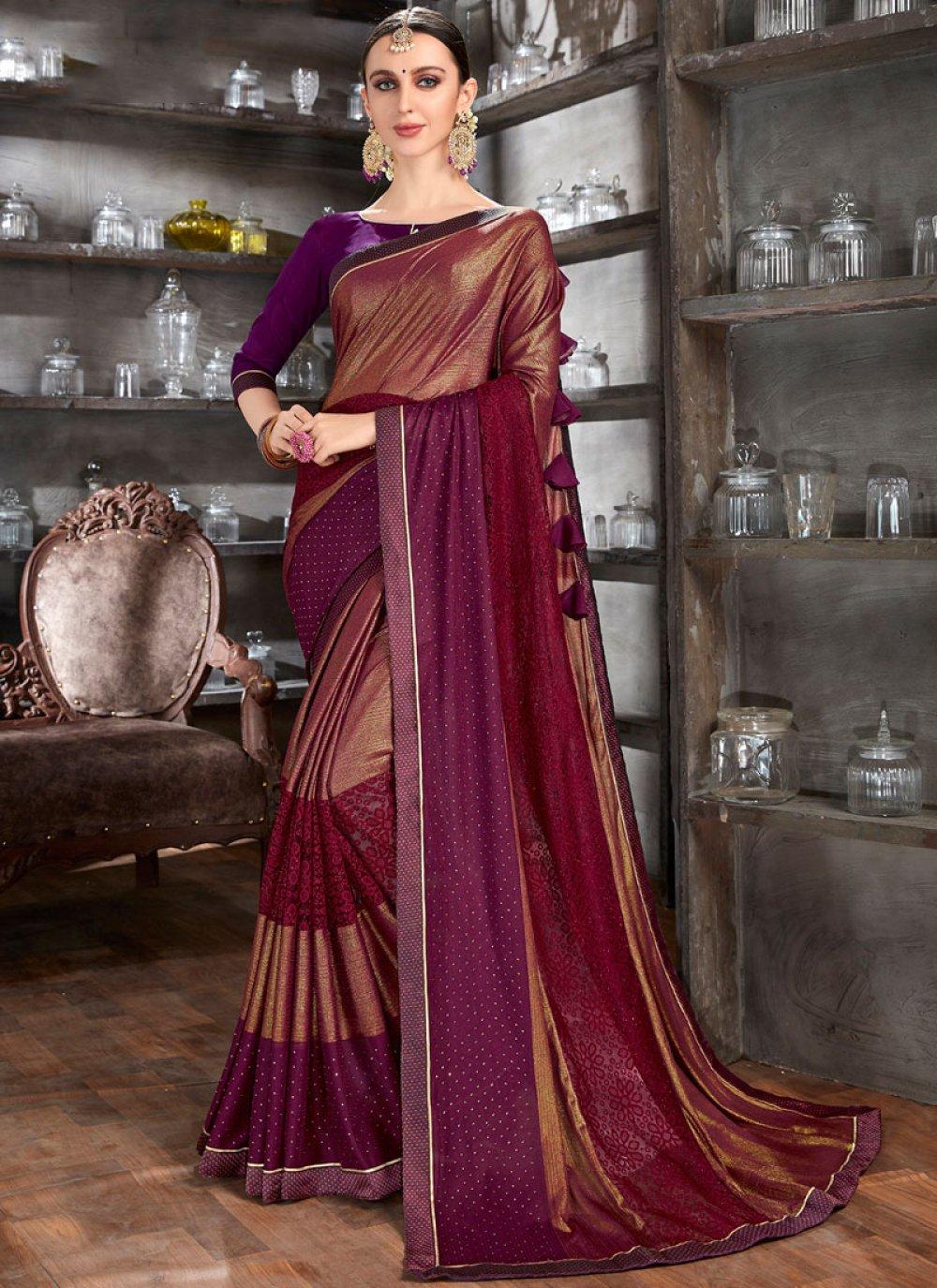 Lycra Brown Designer Saree