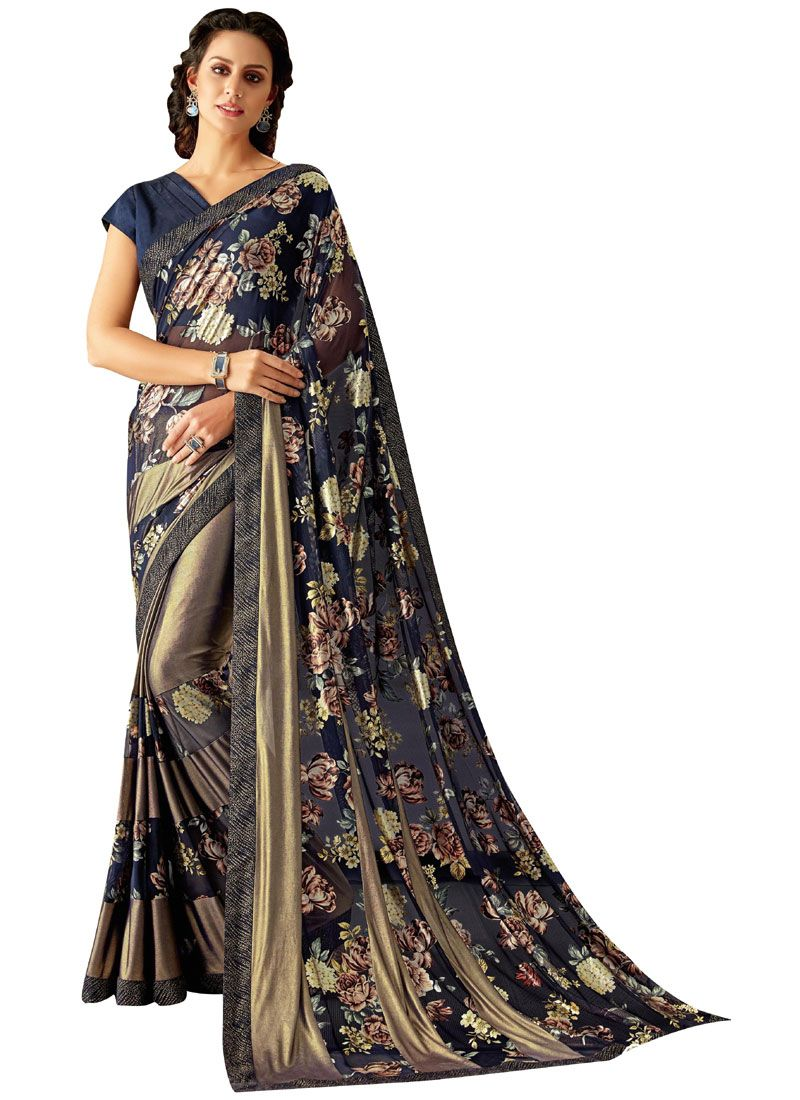 Lycra Classic Saree in Blue