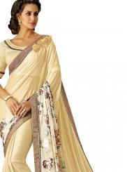 Lycra Cream Lace Trendy Saree