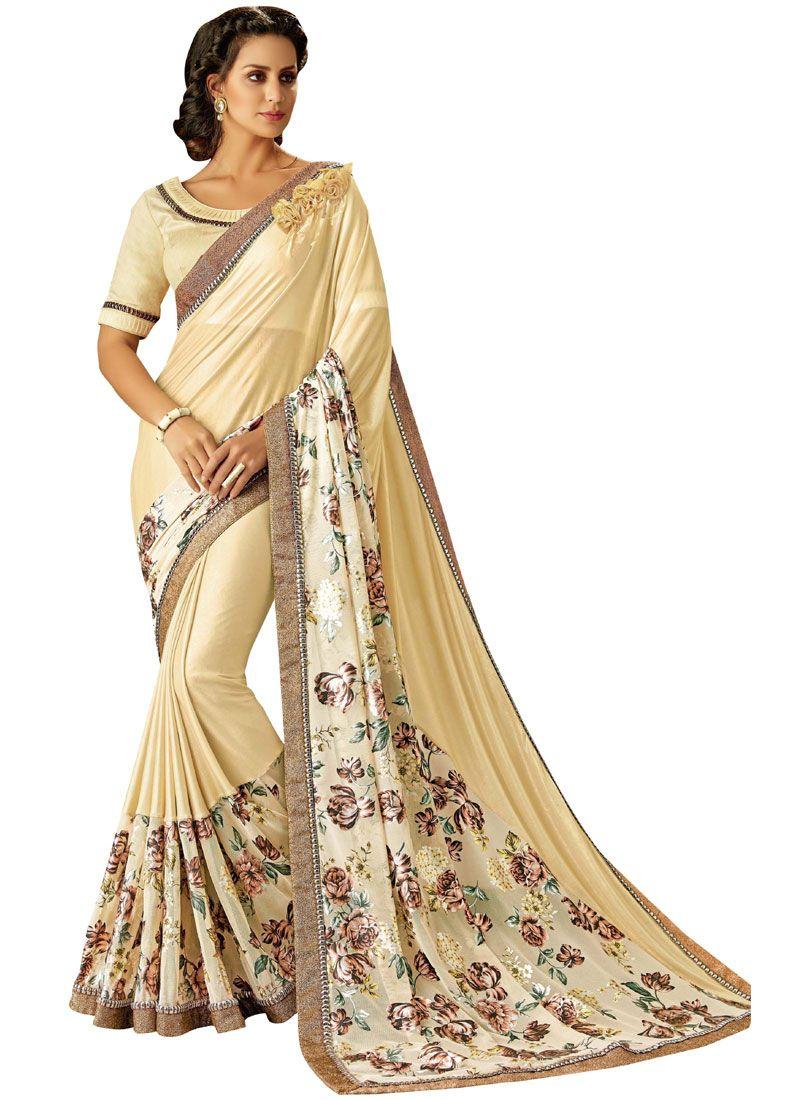Lycra Cream Lace Trendy Saree