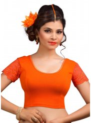 Lycra Designer Blouse in Orange