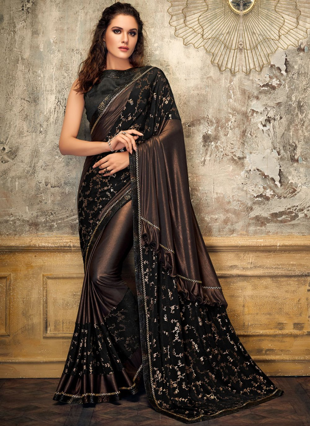 Lycra Designer Saree in Black