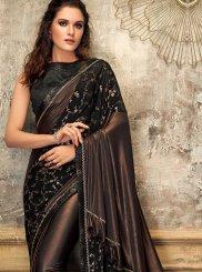 Lycra Designer Saree in Black