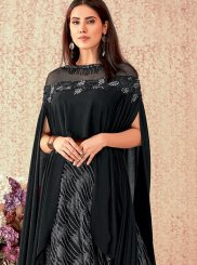 Lycra Embroidered Black A Line Lehenga Choli