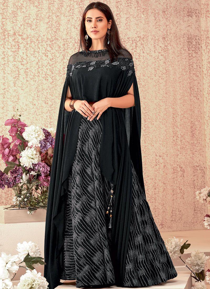 Lycra Embroidered Black A Line Lehenga Choli