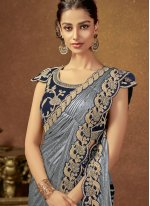 Lycra Embroidered Classic Saree