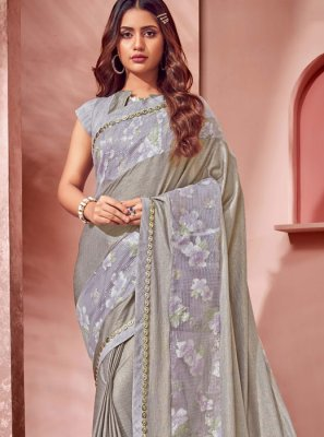 Lycra Grey Saree