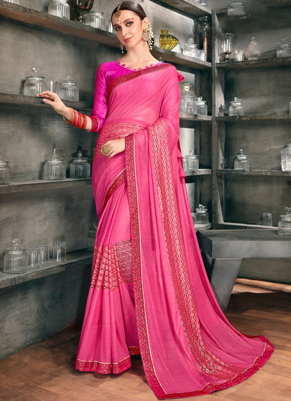 Lycra Pink Embroidered Designer Saree