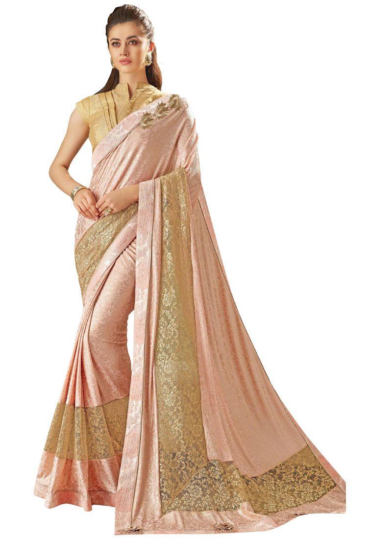 Lycra Pink Saree