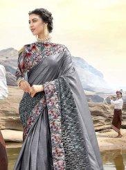 Lycra Print Grey Classic Designer Saree