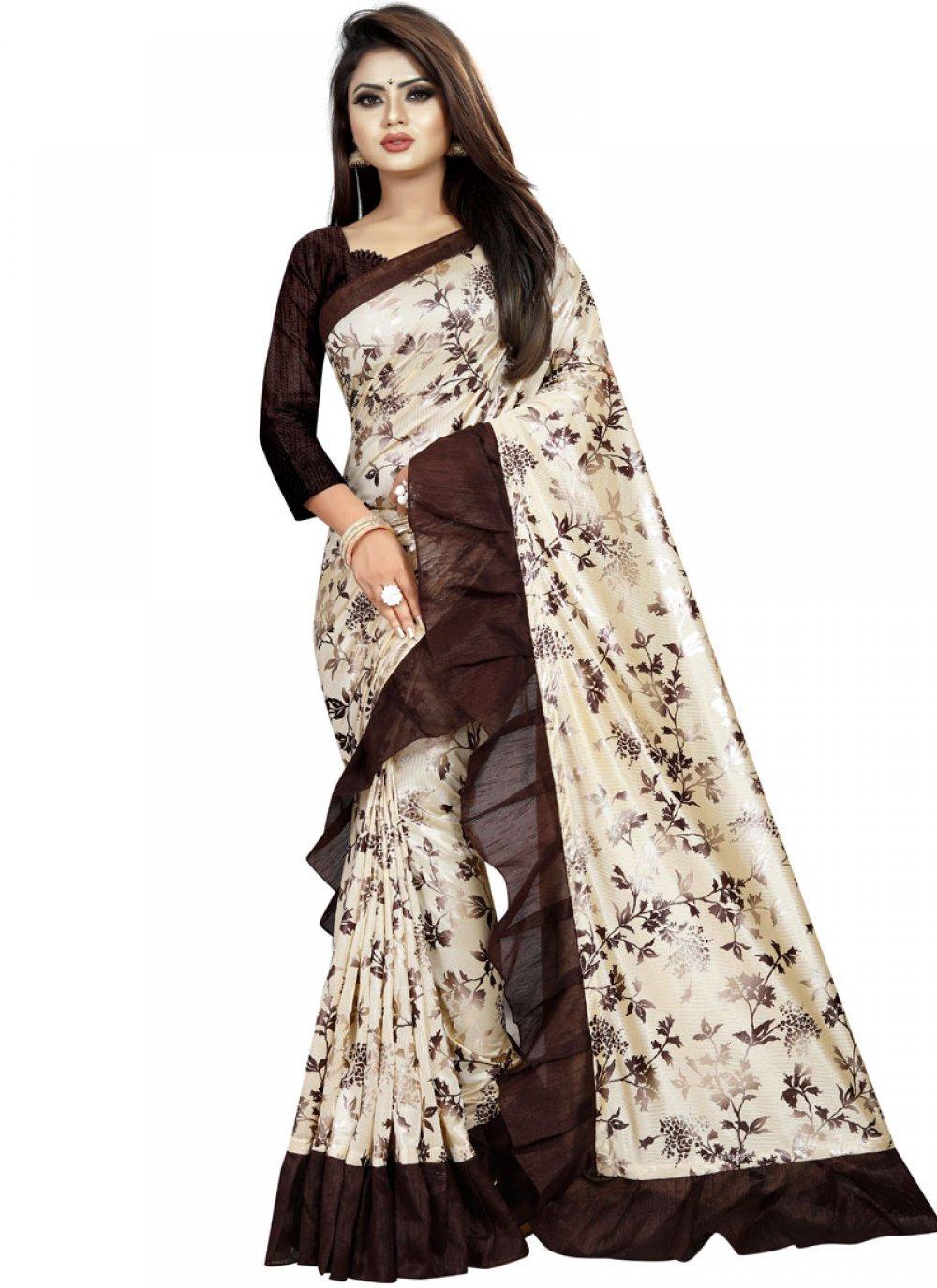 Lycra Printed Saree in Multi Colour