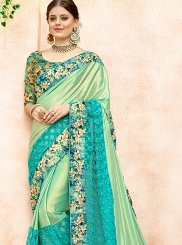 Lycra Sea Green Classic Designer Saree
