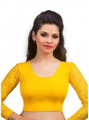 Lycra Yellow Designer Blouse