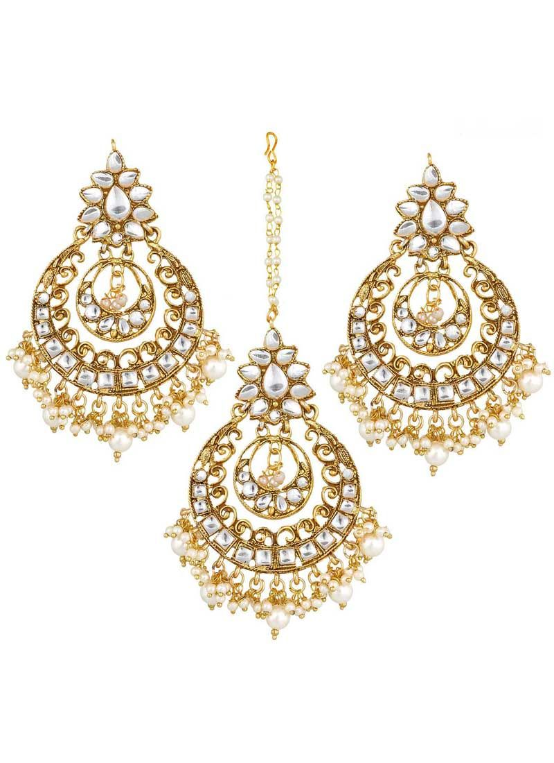 Maang Tika Stone Work in Gold