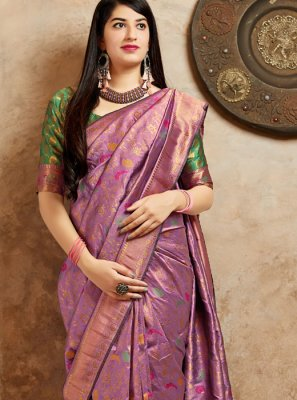 Machine Embroidery  Art Banarasi Silk Designer Traditional Saree in Purple