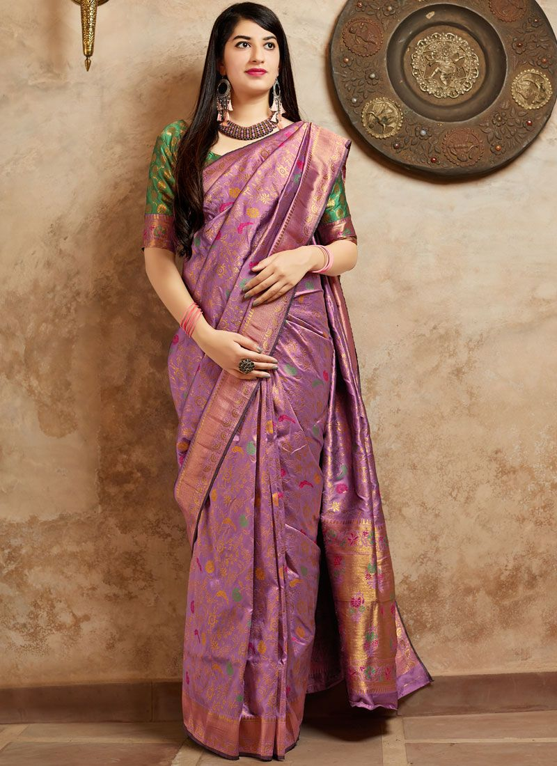 Machine Embroidery  Art Banarasi Silk Designer Traditional Saree in Purple