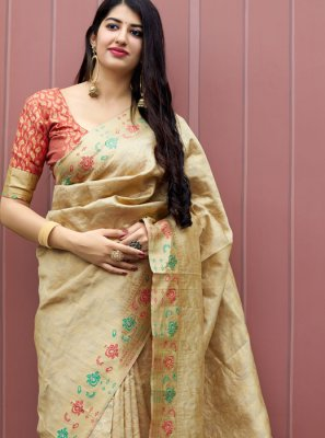 Machine Embroidery  Art Dupion Silk Designer Traditional Saree