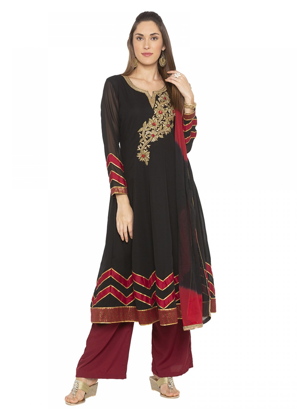 Machine Embroidery  Black Designer Salwar Suit