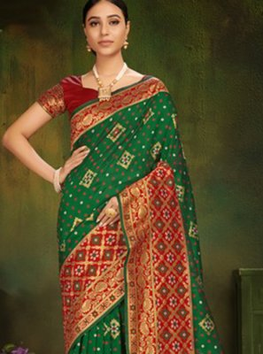 Machine Embroidery  Patola Silk  Red Classic Designer Saree
