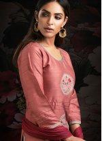 Machine Embroidery  Peach Designer Salwar Suit