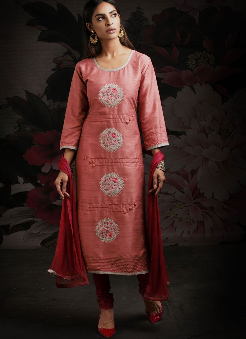 Machine Embroidery  Peach Designer Salwar Suit