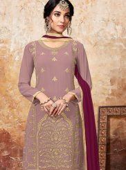 Magenta and Mauve  Embroidered Designer Palazzo Suit