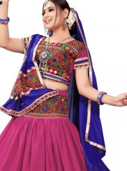 Magenta and Multi Colour Festival A Line Lehenga Choli