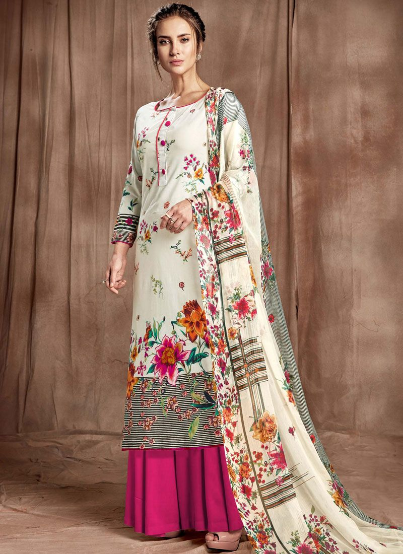 Magenta and Off White Cotton Party Designer Palazzo Salwar Kameez